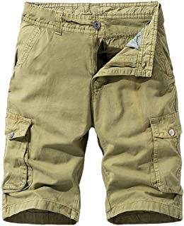 waitFOR Mens Solid Color Cargo Combat Shorts Casual Summer Plain Beach Cotton Shorts, Men's Outdoors Work Trousers with Mu...