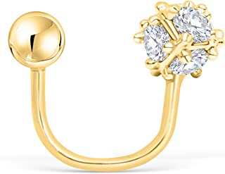 ONDAISY 14K Real Solid Yellow Gold Simluated Diamond Cz Barbell Round Ball Spiral Twist Circular Horseshoe Ear Stud Earring Piercing For Women Girls