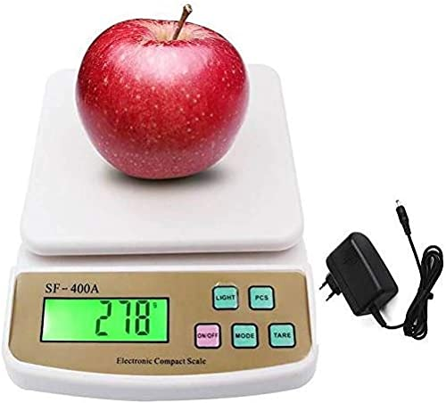 Ionix Kitchen Weight Machine Digital Works on Both Battery and Adapter for Home 10 Kg White