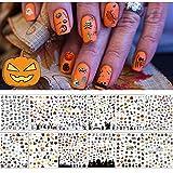 12 Fogli Halloween Adesivi per Unghie Artistiche,EBANKU 3D Adesivo per Unghie Autoadesivo,Manicure di Halloween per Decorazioni per Unghie da Donna