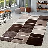 Moderna alfombra para salón, marrón, beige y crema, dibujo de cuadros contorneado a mano, polipropileno, 80 x 150 cm