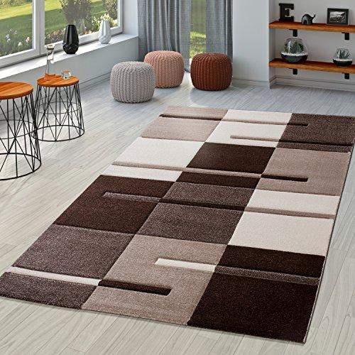 Moderna alfombra para salón, marrón, beige y crema, dibujo de cuadros contorneado a mano, polipropileno, 240x330 cm