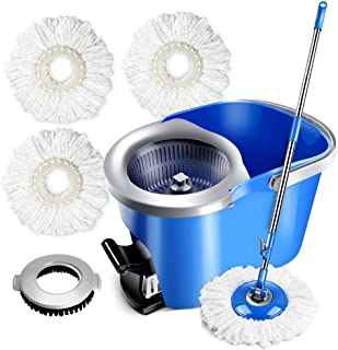 Masthome Mop and Bucket with 3 Microfiber Heads &1 Floor Cleaning Brush 360 Magic Spin Mop for Hardwood Floor Cleaning