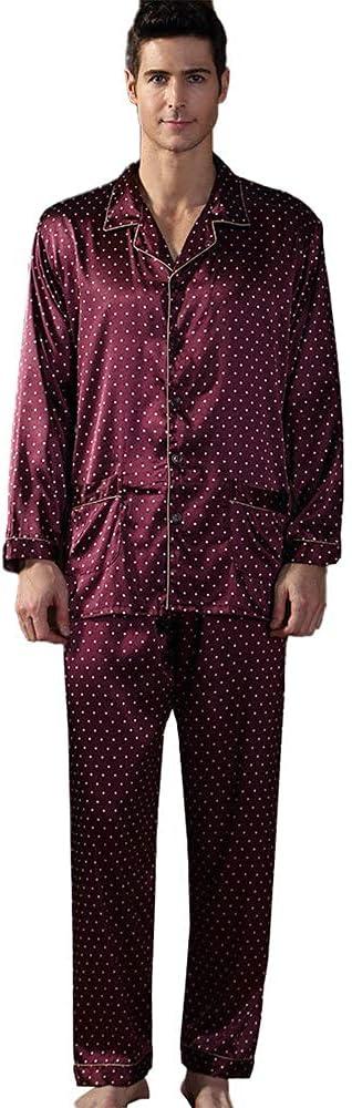 FMOGG Men's Pajama Set Imitation Silk Long Sleeve Sleepwear Lightweight Button Down Tops and Pants/Bottoms Pj Set Loungewear