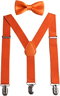 GUCHOL Child Kids Suspenders Bow Tie for Boys and Girls Adjustable Elastic Classic Accessory Sets Age 1 to 13 Year