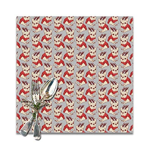 Cream Frenchie in Christmas Sweater Placemats for Dining Table Set of 6 Decorations Washable Xmas New Year Kitchen Holiday Table Placemat,12 x 12 inches