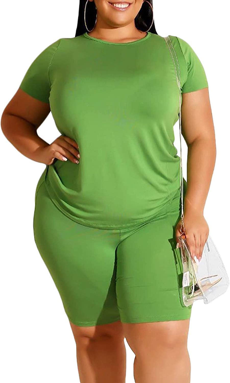 Women Plus Size Sets Outfits Workout Clothing Sports Biker Shorts Active Tshirts XL-4X Green 3XL