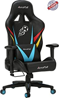 AutoFull Pro Big and Tall Gaming Office Chair Ergonomic High Back PU Leather Bucket Seat Racing Desk Grey Chairs with Lumbar Support (3-Years Warranty) (C-Blue)