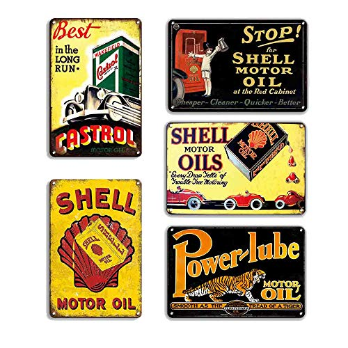 FlowerBeads Vintage Tin Signs Hot Rod Wall Sticker Home Decor House Office Garage Iron Paintings Metal Paintings (5PCS-Gas Oil Signs)