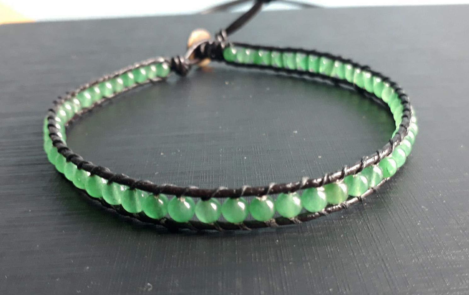 Jade choker green stone Be super welcome men w coker Ranking TOP15 leather