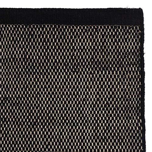URBANARA Kolong Alfombra 100% lana sobre telar de algodón – negro/blanco roto, rectangular 170 x 240 cm, alfombra de salón, alfombra de calidad