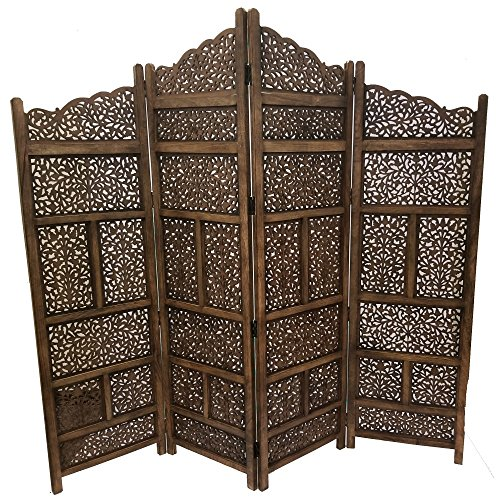 Deco 79 Traditional Wood Multi-Panel Room Divider, 72' H x 80' L, Textured Brown Finish