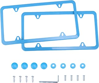 LivTee 4 Holes Stainless Steel License Plate Frames, 2 PCS Car Licence Plate Covers Slim Design with Bolts Washer Caps for US Vehicles, Blue