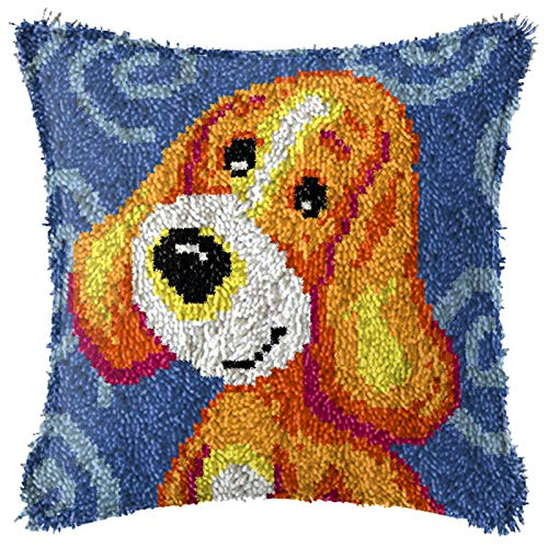 Latch Hook Kits, DIY Animal Theme Carpet Cushion Crocheting Pillowcase Rug Sewing Craft Kit for Adults and Beginners, Pup, 17'' X 17'',A