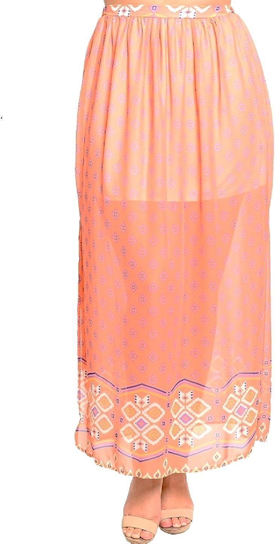 Hug+ Womens Skirt Peach Diamond Print Casual Full Length Side Slits