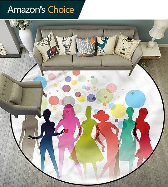 RUGSMAT Girls Modern Machine Round Bath Mat Colorful Silhouettes Models Non Skid Bath Mat Living Room Bedroom Carpet Round 31