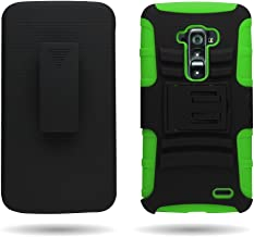 Customerfirst - Defender Shell Holster Combo Case For For LG G Flex 2 LS996 , Protective Skin Case Cover With Advanced Armor Impact Hybrid Soft Silicone Cover Hard Snap On Plastic Case Kick Stand with Belt Clip Holster (H GREEN)
