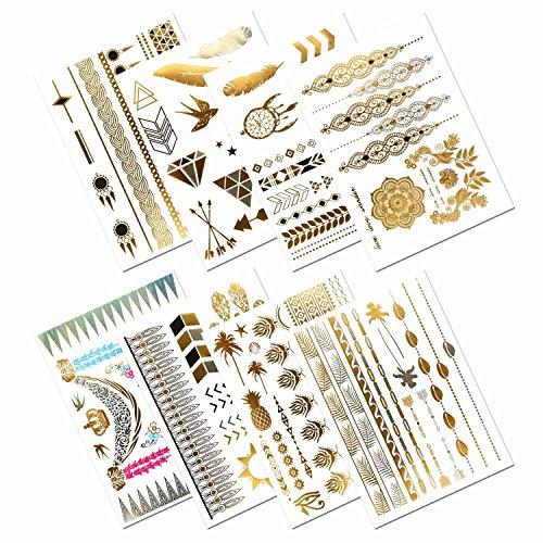 Metálico tatuajes temporales, prettydate 150+ Henna & Floral Diseños en oro plata negro, Fake Glitter joyería tattoos- pulseras, collares, muñeca, tobilleras y brazaletes (8hojas)