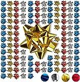 Relaxdays Noeud d'emballage cadeau ruban décoratif set de 100 noël fête anniversaire Ø 5 cm, coloré