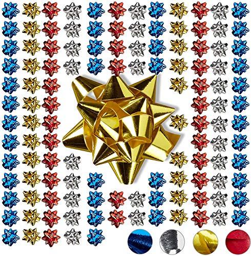 Relaxdays, Bunt Geschenkschleifen 100er Set, Selbstklebend, Kleine Dekoschleifen für Weihnachten & Geburtstag, Ø 5 cm