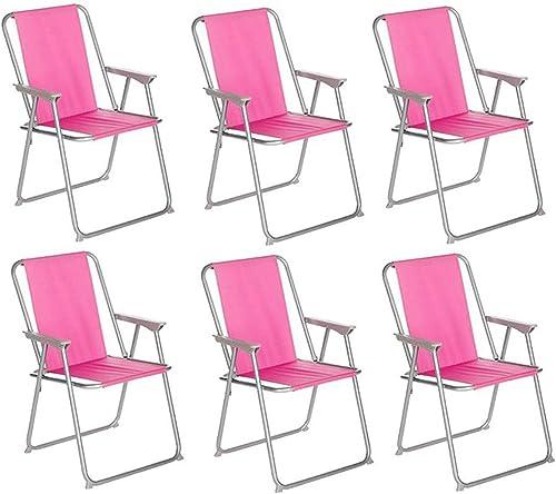 PEGANE Lot de 6 chaises de Camping Pliantes Couleuris Rose - L. 74.5 x l. 53 x H. 7cm