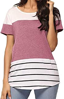 OTW Women's Short Sleeve Casual Tunic Striped Round Neck Tee Shirts Blouse Top