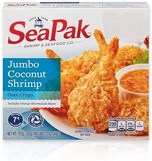 SeaPak Jumbo Coconut Shrimp, Delicious Seafood with Oven Crispy Breading, Includes Orange Marmalade Sauce, Frozen, 10 Ounces