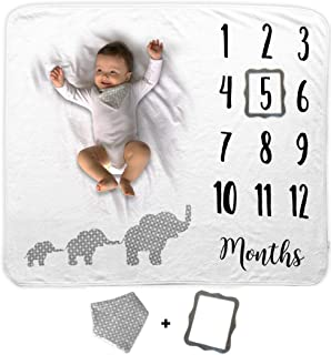 Baby Monthly Milestone Blanket   Includes Bib and Picture Frame   1 to 12 Months   100% Organic Fleece Extra Soft   Best Photography Backdrop Photo Prop for Newborn Boy & Girl