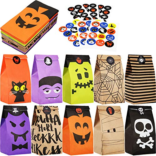 Outus 60 Pieces Halloween Paper Gift Bags Trick or Treat Bags Party Favor Candy Bags with 66 Pieces Halloween Stickers