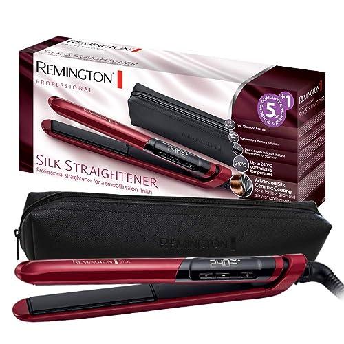 Remington S9600 Haarglätter Silk, Keramikbeschichtung mit Seidenproteinen, rot