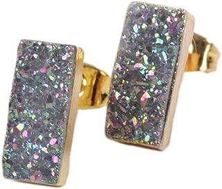 JAB 1 Pair Gold Plated Rectangle Sparkle Titanium Druzy Studs Post Earrings