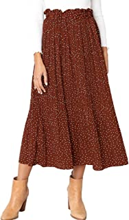Womens High Waist Polka Dot Pleated Skirt Midi Swing Skirt with Pockets