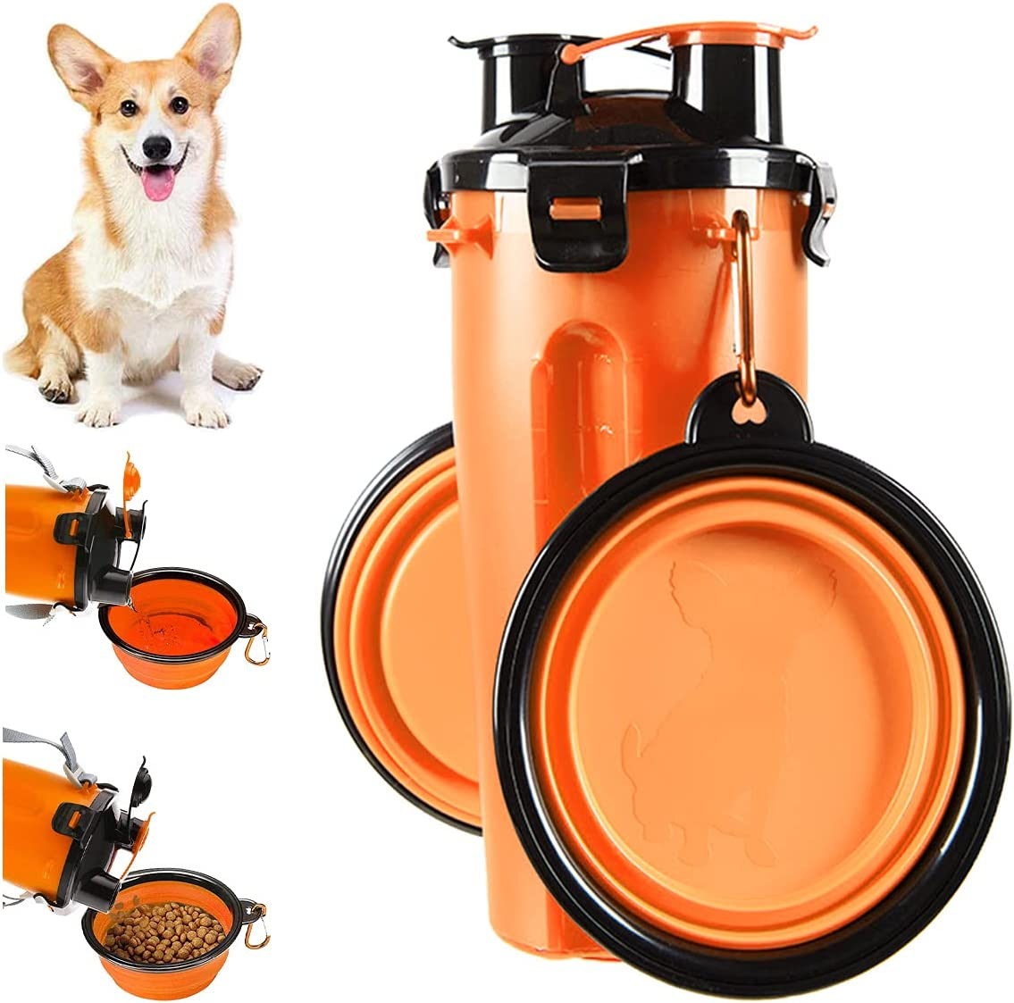 Botella de Agua para Perros Portátil 2 en 1 Envase de Comida para Perro 2 Plegable Tazones para Mascotas Bebedero dispensador Mascotas al Aire Libre Caminar Viajar Cámping Paseo Senderismo (Negro)