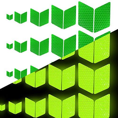 Tuqiang Diamant-Form Reflektierendes Klebeband Wasserdicht Selbstklebend Für Kleidung Rucksack und Gehweg Hohe Sichtbarkeit Band Sicherheit im Freien Reflektierend Aufkleber 25 Stück Grün