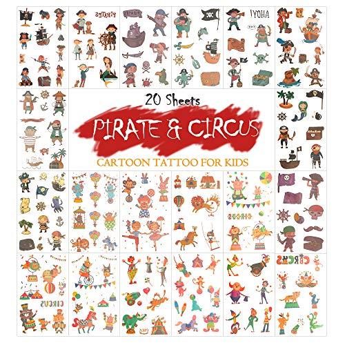 MAPLE UK 20 Hojas de Halloween Tatuajes temporales para niños Etiqueta Adhesiva removible para niños, niñas, niños, Tatuajes, Fiesta, Relleno de Bolsas (Circo + Pirata)