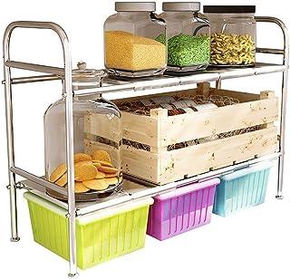 Porte-ustensiles étagères Cuisine étagère, sous l'évier 2 Niveau extensible plateau Organisateur Rack, 304 multifonction e...