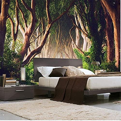 Carta da parati personalizzata con foto 3D 3D Green Forest Nature Landscape Ampio soggiorno Divano Modern Room Wall Pain Carta da parati fotomurali poster murale Soggiorno camera letto-400cm×280cm