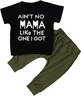 Angelchild Baby Toddler Boy Short Sleeve T-Shirt Tops and Long Pants Outfit Set