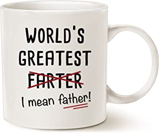 MAUAG Fathers Day Gifts Funny Christmas Gifts Best Dad Coffee Mug, World's Greatest F, I Mean Father, Best Cute Birthday Gifts for Dad Cup White, 11 Oz