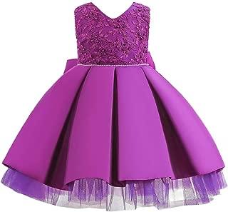 HUAANIUE Baby Toddler Girls Pageant Wedding Birthday Party Dress Sleeveless Flower Girl Dresses