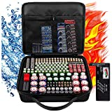 Battery Storage Organizer Case with Battery Tester, 250+ Waterproof Explosion-Proof Box Holder Bag Fits for AA AAA AAAA 9V C D Lithium 3V LR44 CR2 CR1632 CR2032 CR123A