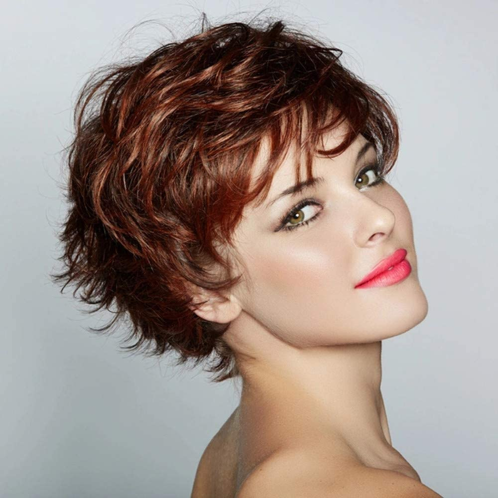 Fleurapance - Peluca de color castaño para mujer, aspecto de cabello natural y corto, estilo Bob, elegante, ondulada, sintética y resistente al calor