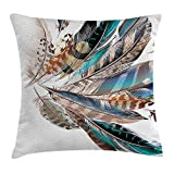 vnsukdlfg Feather House Decor Throw Pillow Cushion Cover, Vaned Types and Natal Contour Flight Feathers Animal Skin Element Print, Decorative Square Accent Pillow Case, 18 X 18 Inches, Teal Brown