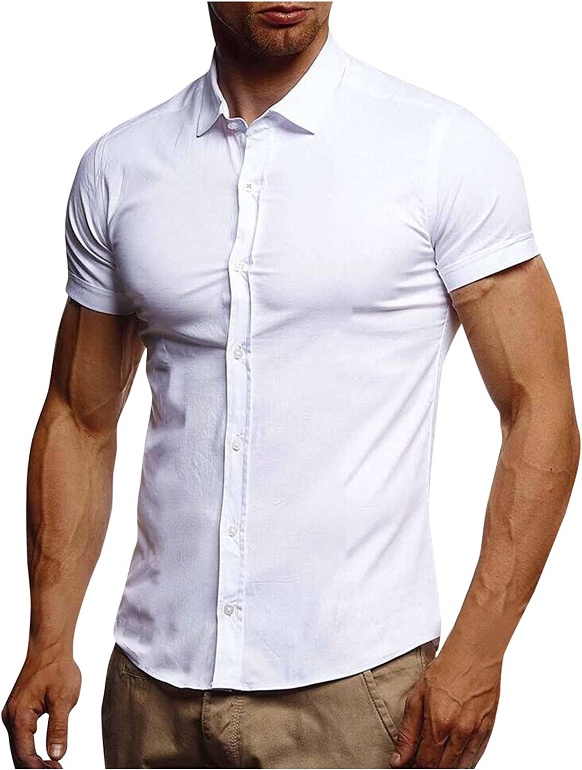 LEIYAN Mens Casual Button-Down Dress Shirts Short Sleeve Slim Fit Work Business Athletic Gym Workout Muscle Tops