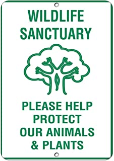 Flyss Rustic Metal Sign Post Wildlife Sanctuary Please Help Protect Our Animals Plants Aluminum Wall Art Plaque Decoration