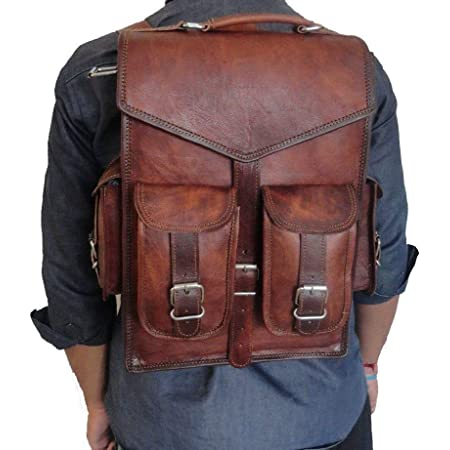 bag in deep coffee brown colour an Leather backpack