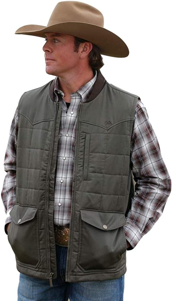 Cinch Western Vest Mens Wax Coated Quilted Logo