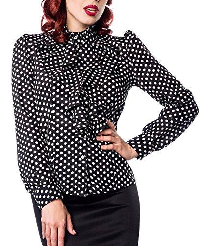 Schwarze Rüschen Schluppenbluse weiß gepunktet mit Jabot und Strassknöpfen Stehkragen Rockabilly Bluse Damen Retro M