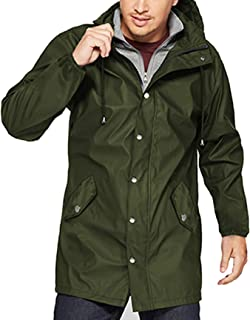 URRU Men's Waterproof Raincoat Lightweight Hooded Windbreaker Jackets Outdoor Trench Coat S-XXL