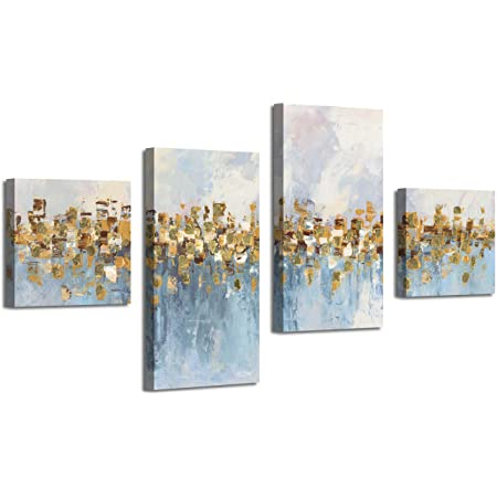 Abstract Art Seascape Picture Paintings Glowing Sandy Forest Gold Foil Oil Painting Print On Canvas For Walls Overall 64 Wx39 H Posters Prints
